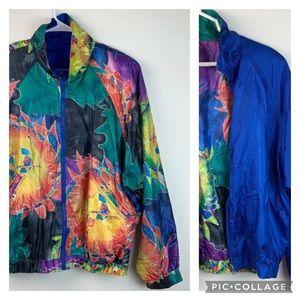HEAD reversible batik sun windbreaker jacket EUC